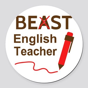 Funny Beast or Best English Teacher Round Car Magn