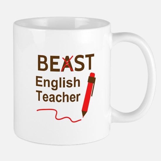 Funny Beast or Best English Teacher Mugs