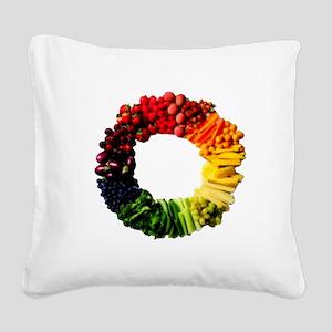 Circle of Fruit n Veg Square Canvas Pillow
