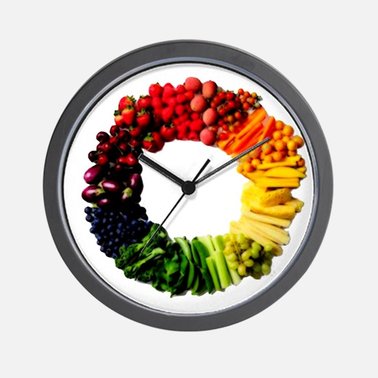 Circle of Fruit n Veg Wall Clock