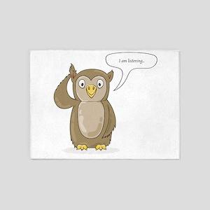 cute owl listening 5'x7'Area Rug