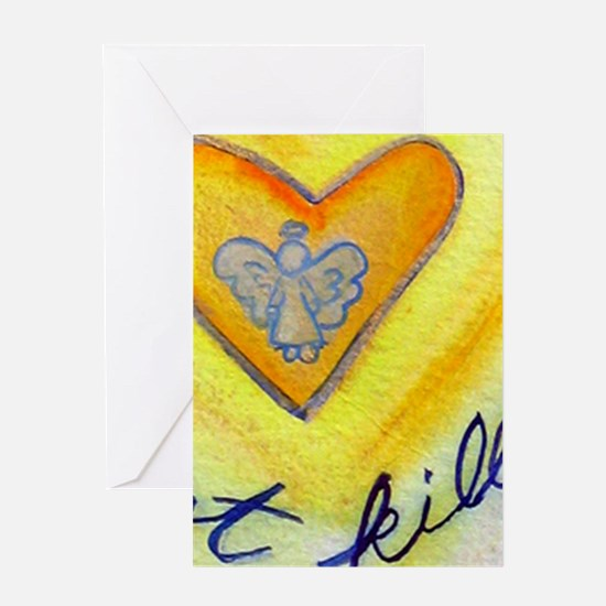 Blue & Gold Heart Cancer Greeting Card