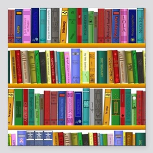 """The bookshelf Square Car Magnet 3"""" x 3"""""""