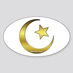 Gold Star and Crescent Oval Sticker