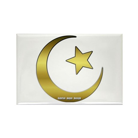 Gold Star and Crescent Rectangle Magnet (10 pack)