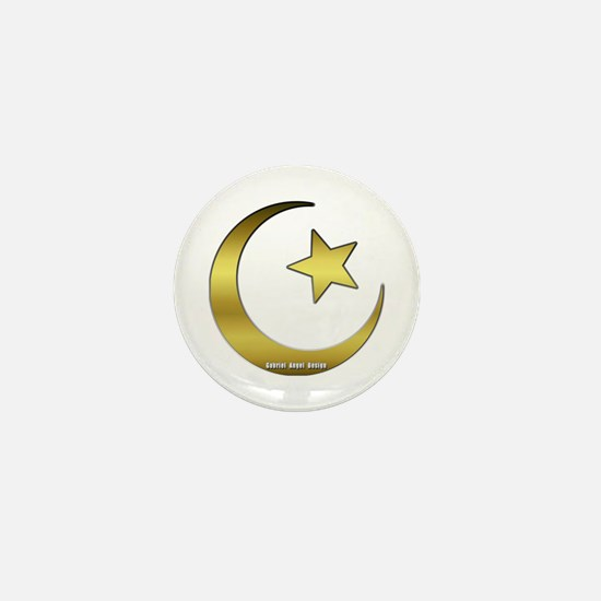 Gold Star and Crescent Mini Button
