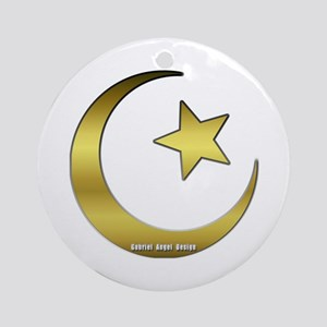Gold Star and Crescent Ornament (Round)