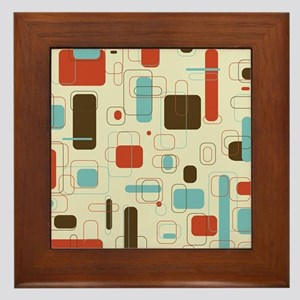 Colorful Modern Geometric Abstract Art Framed Tile