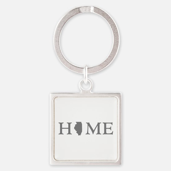 Illinois Home State Square Keychain
