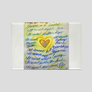 Blue & Gold Heart Cancer Rectangle Magnet