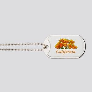 Stylized California Poppies Dog Tags