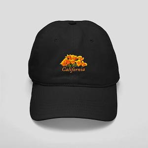 Stylized California Poppies Black Cap