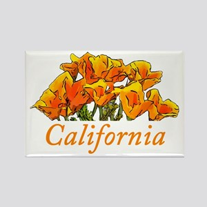 Stylized California Poppies Rectangle Magnet
