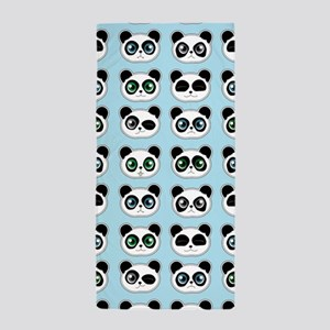 Cute Panda Expressions Pattern Blue Beach Towel