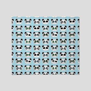 Cute Panda Expressions Pattern Blue Throw Blanket