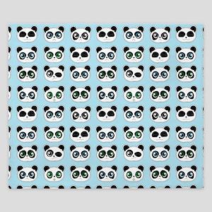 Cute Panda Expressions Pattern Blue King Duvet