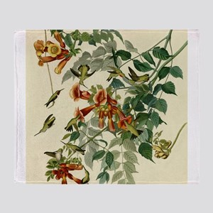 Audubon Ruby Throated Hummingbirds Throw Blanket