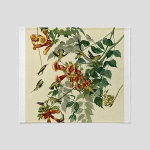 Audubon Ruby Throated Hummingbirds Throw Blanket