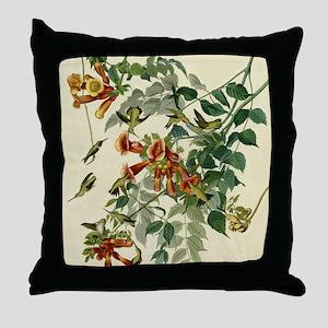Audubon Ruby Throated Hummingbirds Throw Pillow