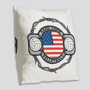 Usa Hard Core Volleyball Burlap Throw Pillow