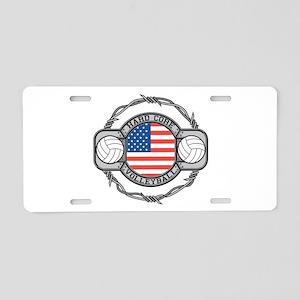 USA Hard Core Volleyball Aluminum License Plate
