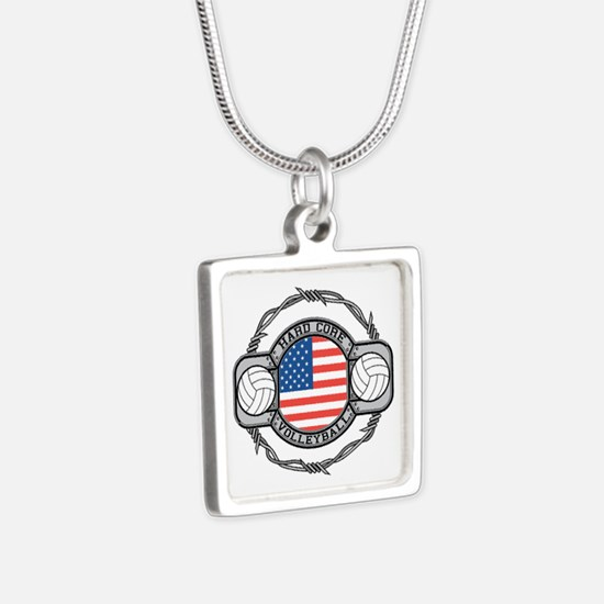 USA Hard Core Volleyball Silver Square Necklace