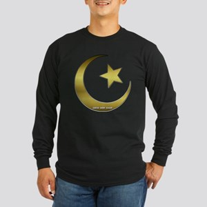 Gold Star and Crescent Long Sleeve Dark T-Shirt