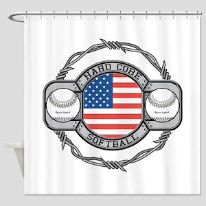 Usa Hard Core Softball Shower Curtain