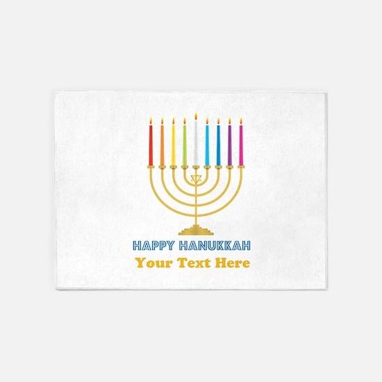 Happy Hanukkah Personalized 5'x7'Area Rug