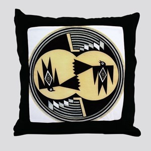MIMBRES BIRD CALL BOWL DESIGN Throw Pillow