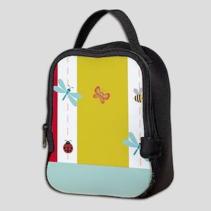 Preppy Pink Stripes Neoprene Lunch Bag