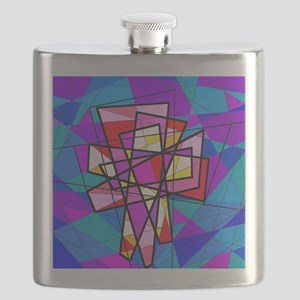 The stained glass Christian Crosses. Flask