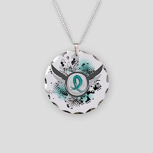 Scleroderma GrungeRibbonWing Necklace Circle Charm