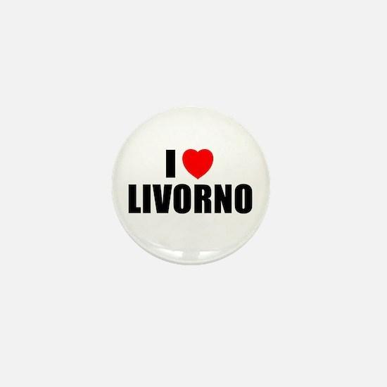 I Love Livorno, Italy Mini Button
