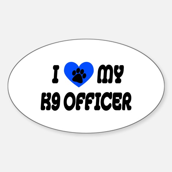 Love My K9 Officer Oval Decal