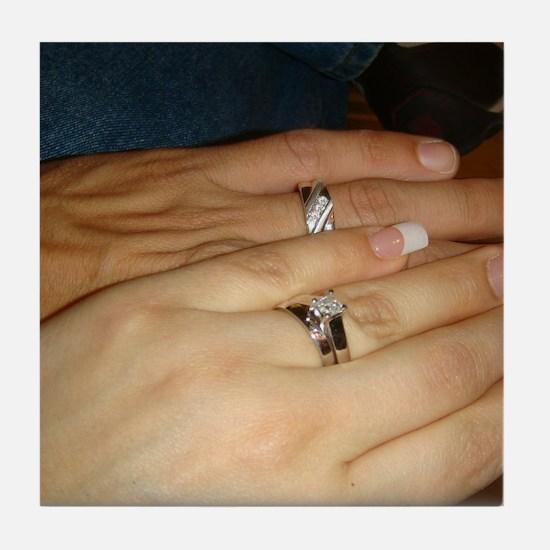 White Gold Wedding Rings Tile Coaster