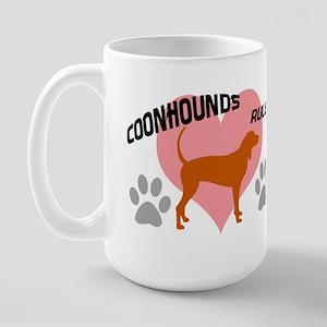 coonhounds rule w/ heart Large Mug
