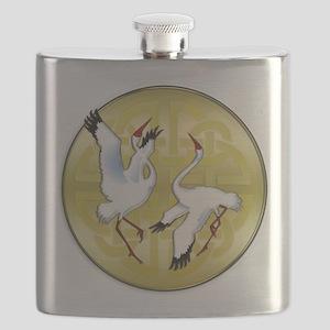 Asian Dancing Cranes on Gold Medallion Flask