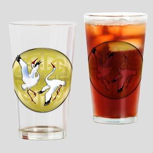 Asian Dancing Cranes on Gold Medallion Drinking Gl