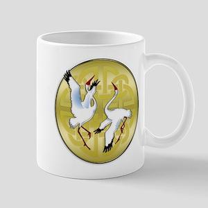 Asian Dancing Cranes on Gold Medallion Mugs