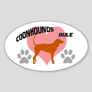 coonhounds rule w/ heart Oval Sticker