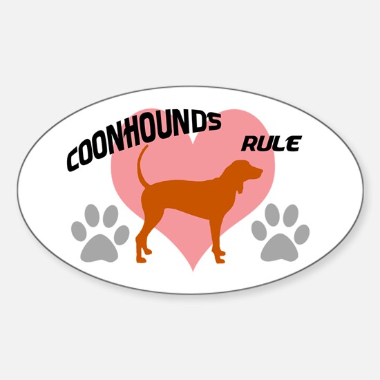 coonhounds rule w/ heart Oval Decal