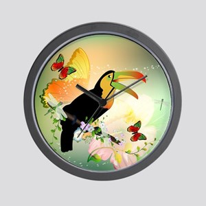Toucan with flowers Wall Clock