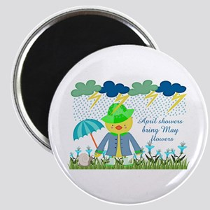 Cute Duck April Showers Bring May Flowers Magnet