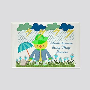 Cute Duck April Showers Bring May Rectangle Magnet