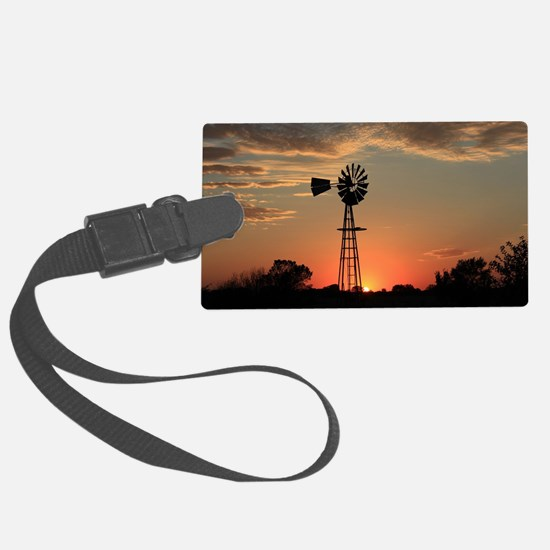 Kansas Country Golden Windmill S Luggage Tag