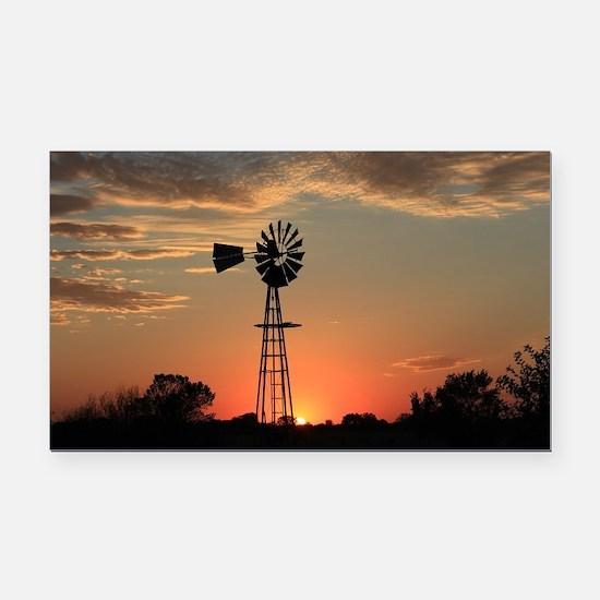 Kansas Country Golden Windmil Rectangle Car Magnet