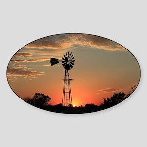 Kansas Country Golden Windmill Silh Sticker (Oval)