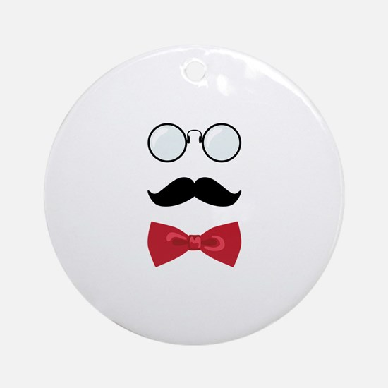 Gentleman Scholar Mustache Bowtie Glasses Ornament