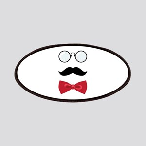 Gentleman Scholar Mustache Bowtie Glasses Patches